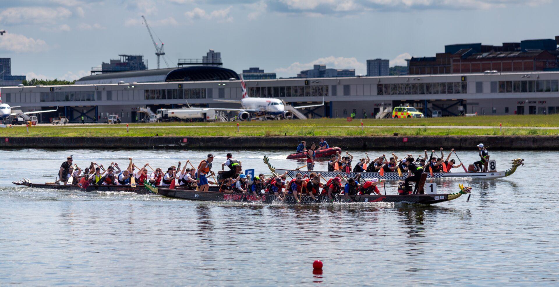 Dragon Boats racing at the 2018 London Hong Kong Dragon Boat Festival
