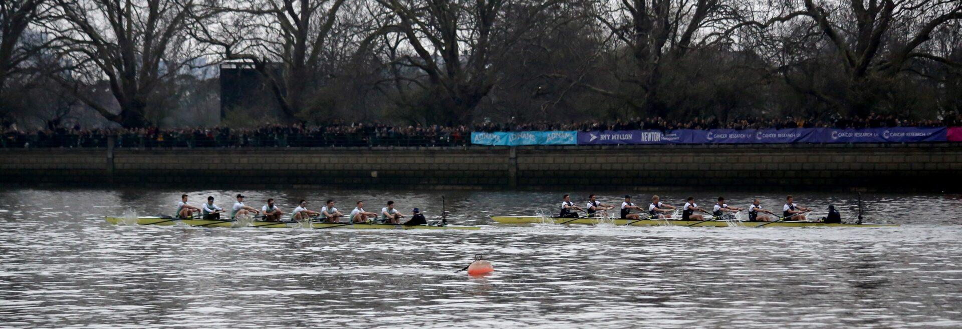 Men's Blues race at the 2018 Boat Race