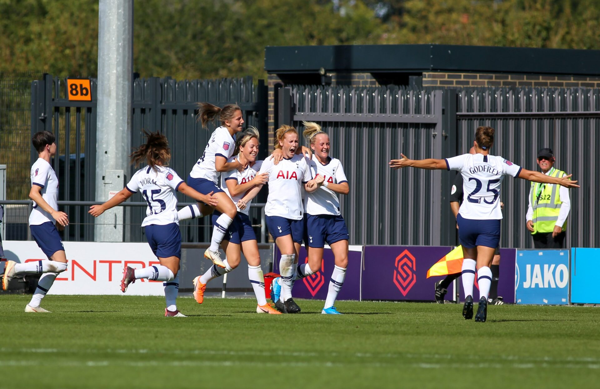 Rachel Furness and team mates celebrating Tottenham Hotspur first ever goal in the FA Women's Super League